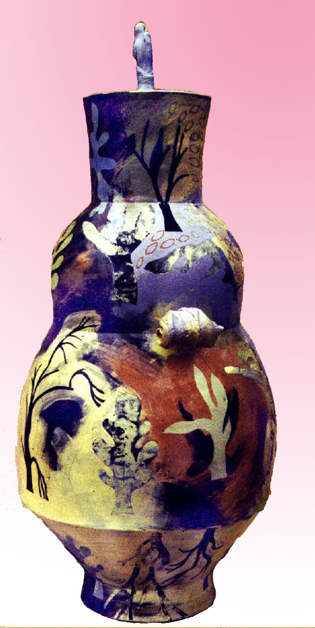 Urn, thrown in sections and decorated with coloured slips,underglazes and ceramic oxides