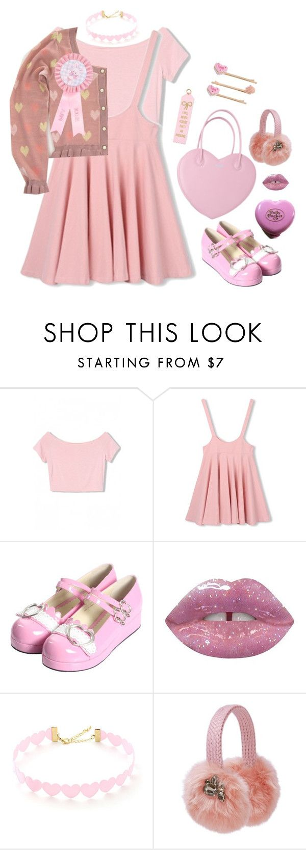 """""""hearts"""" by moon-grrrl ❤ liked on Polyvore featuring Bodyline, Lime Crime, Lipsy, Miss Selfridge, women's clothing, women, female, woman, misses and juniors"""