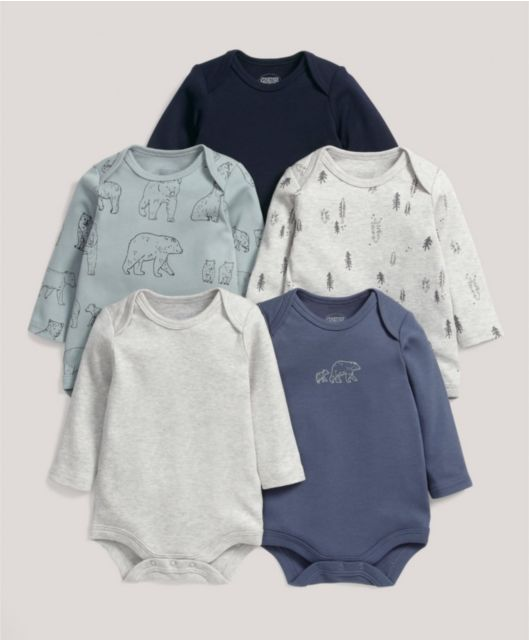 Five Pack of Bear Long Sleeved Bodysuits