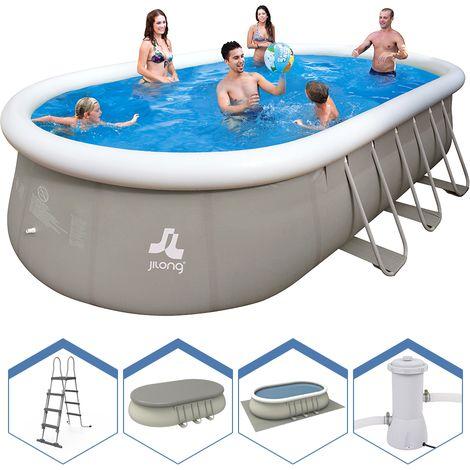 JILONG - Prompt set piscine ovale + Structure 610x360x122 cm Pompe + Echelle + Couvre piscine 17023EU - Jardin piscine