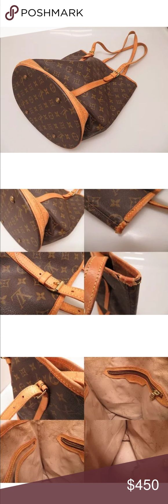 Authentic Louis Vuitton Monogram Bucket Bag Authentic Louis Vuitton Monogram Bucket GM Shoulder Bag M42236 P2602IAOA5. All flaws are in the above pictures Louis Vuitton Bags Shoulder Bags