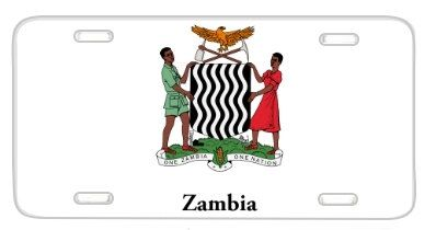 Zambia Flag Coat Of Arms License Plate Metal Wall by BlingSity, $14.95