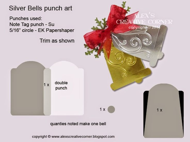 Alex's Creative Corner: Note Tag Punch Silver Bells Punch Art.