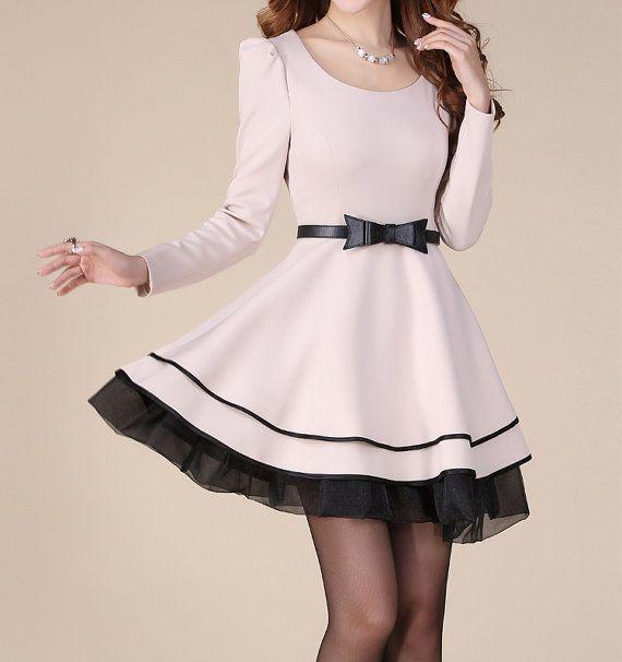 Apricot  OL style long sleeve dress maxi dress casual cotton skirt  lace edge dress women skirt plus size women dress skirt with belt on Etsy, $62.00