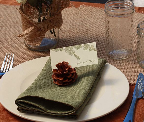 Pine Cone Seating Cards! Get back to nature – or to the local craft store if required – and prep your pine cones. We can print your seating cards to match your wedding theme and color. Additionally, you could glitz the pine cones up with glitter or metallic paint!