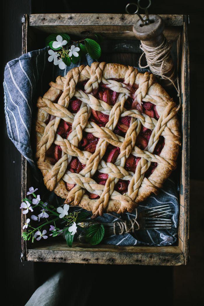 Peach + Raspberry Pie with White Chocolate Mascarpone