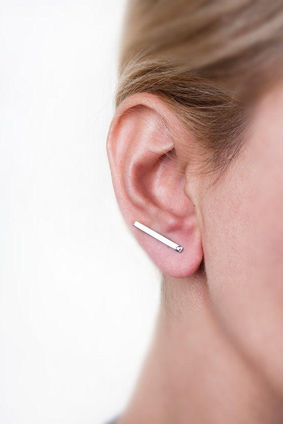 Silver Bar Earring Flat Comfortable Long Line Geometric Minimalist Anium Minimal Largentolab