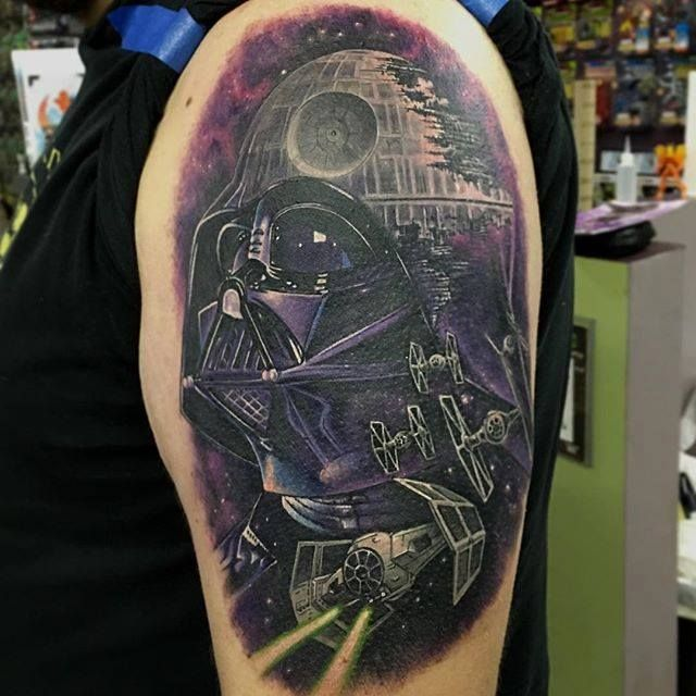 Star Wars tattoo by Chris Jones. Darth Vader, Death Star.