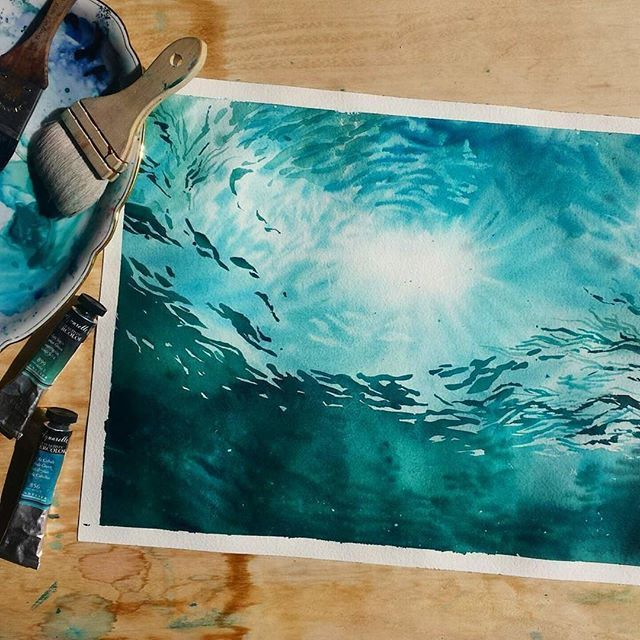 Best 25 watercolor ocean ideas on pinterest ocean art for Mural inspiration