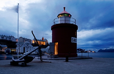 Hotel Brosundet,Ålesund Norway.  There is only one room at Hotel Brosundet where you can spend the night in the old lighthouse.  Wake up to the birds singing..