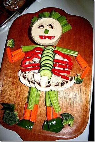 Skeleton Veggie Tray For Halloween Holiday Food