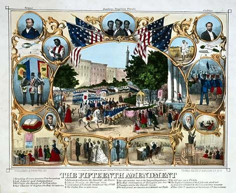 The 13th, 14th, and 15th Amendments to the Constitution.  The 13th abolished slavery. The 14th says a person on American soil is considered an American citizen including African Americans. The 15th prohibits the government from denying a person's right to vote based on the person's race or color.