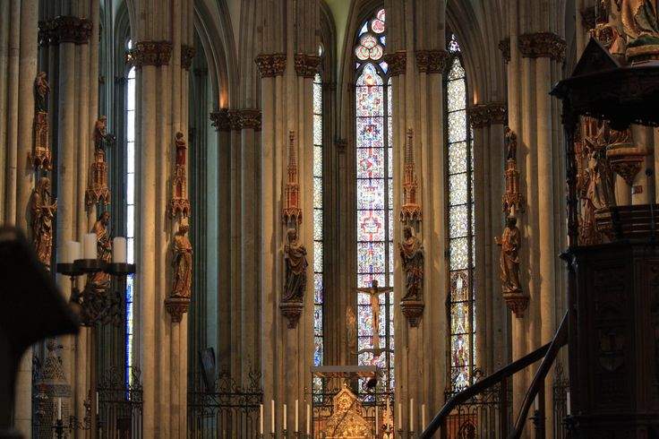 Inside Cologne Cathedral, Germany.