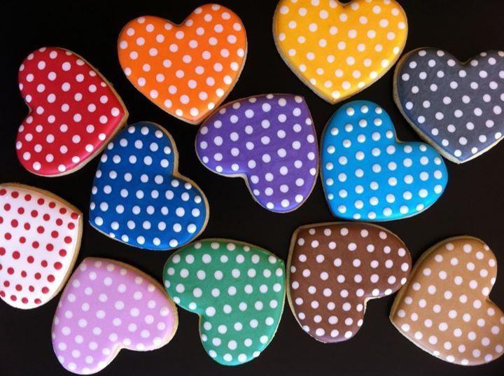 Colorful polka dot heart cookies