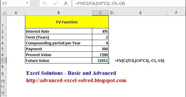 Fv Function Learning Microsoft Annuity Formula Excel Templates