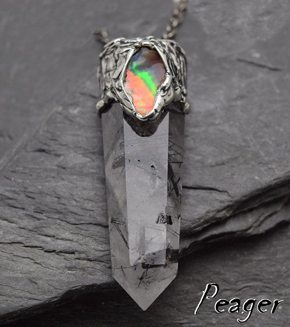 Tourmalated QuartzEthiopian opal pendantmen necklaceQuartz