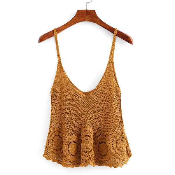 Hollow Out Swing Crochet Cami Top ($12) ❤ liked on Polyvore featuring tops, camel, crochet top, white cami tank top, crochet vest, spaghetti strap tank top and white crochet vest