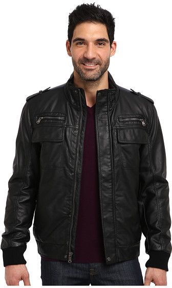 $90, Black Leather Bomber Jacket: Calvin Klein Faux Leather Bomber Jacket Cm499264. Sold by 6pm.com. Click for more info: https://lookastic.com/men/shop_items/287264/redirect