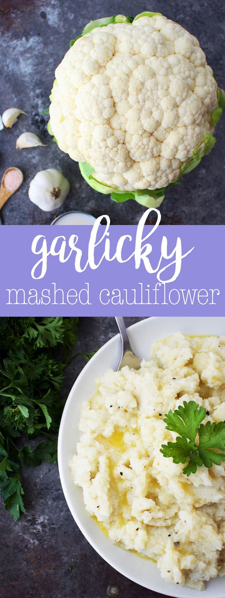 Dairy-Free Garlicky Mashed Cauliflower - a vegan side dish recipe via @thecrunchychron