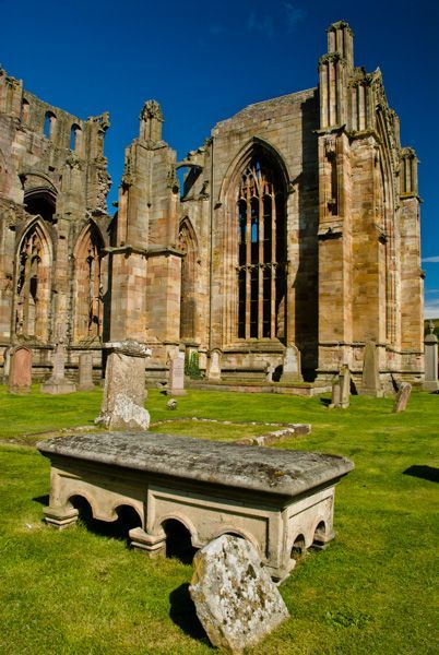 Melrose Abbey founded in 1138, Scotland