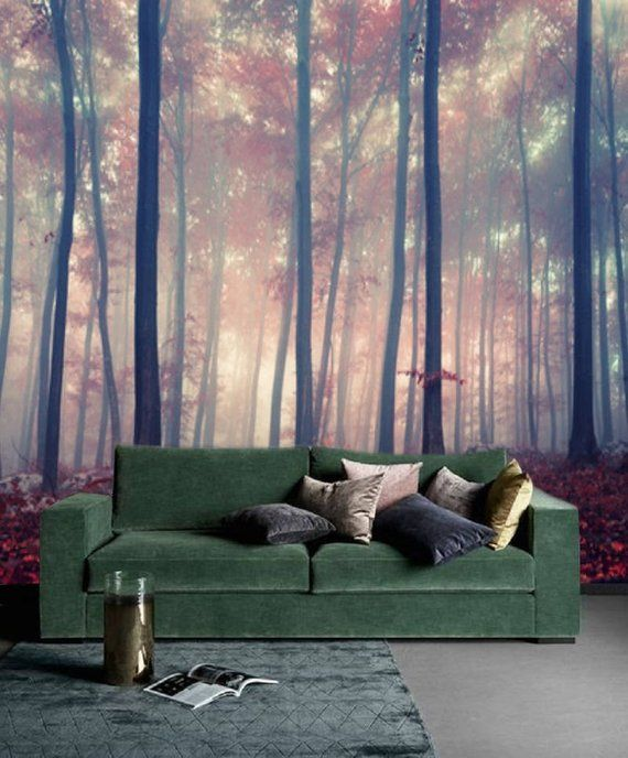 Forest Wall Mural Removable Wallpaper Peel Stick Mural Etsy Forest Wall Mural Wall Murals Mural