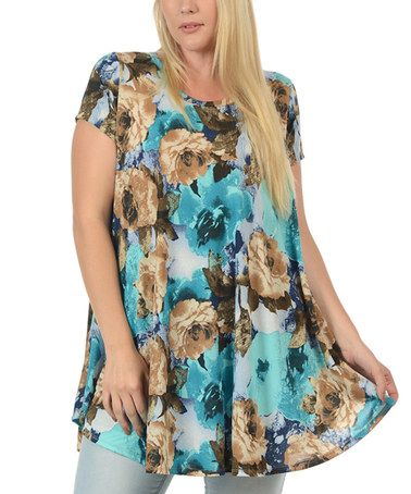 Another great find on #zulily! Teal Floral Tunic - Plus #zulilyfinds