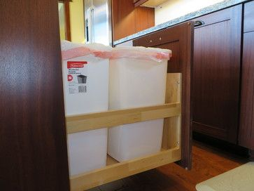 Mahogany Kitchen - craftsman - Kitchen - Other Metro - Woodcrafters Intl Inc Pull out recycling bins.