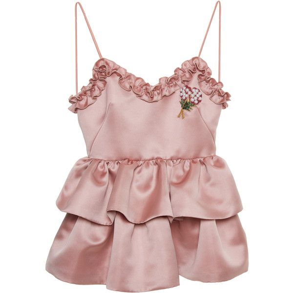 Vivetta     Concord Duchesse Peplum Top (4,150 HKD) ❤ liked on Polyvore featuring tops, ruffle neck top, tier top, peplum tops, pink peplum top and pink top