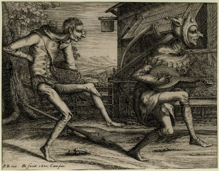 Print made by Hendrik Hondius I Date 1642 Two Fools of Carnival; two fools dance toward the right while playing and grinning; behind them an inn. 1642 Engraving