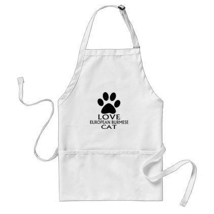 LOVE EUROPEAN BURMESE CAT DESIGNS ADULT APRON - kitchen gifts diy ideas decor special unique individual customized