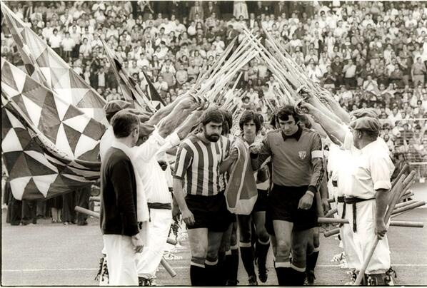 Athletic Club Players Carrying the Recently Legalized  Basque Country Flag for its First Ever Hoisting at San Mames (August 8th, 1977)