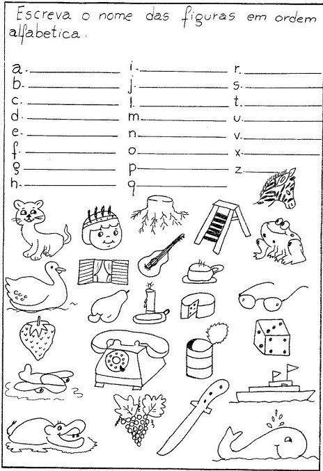 colocar desenhos na ordem alfabetica