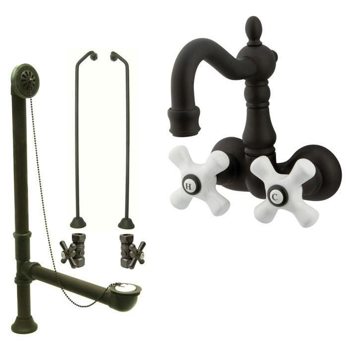 Oil Rubbed Bronze Wall Mount Clawfoot Tub Faucet Package w Drain ...
