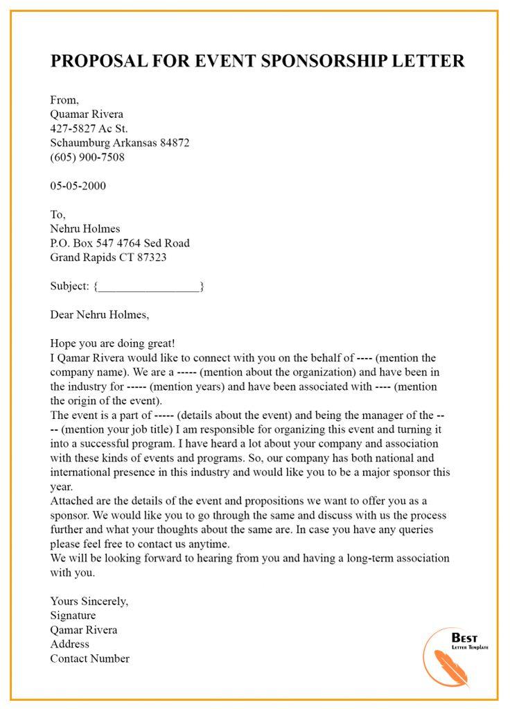 Sponsorship Letter for Event Template- Format, Sample ...