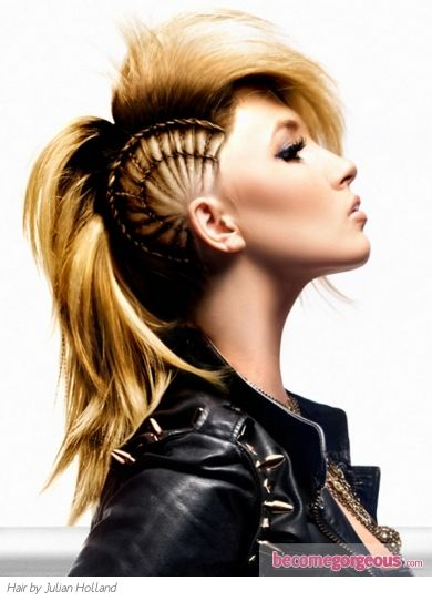 Chic Punk Braided Hairstyle  Punk Girl Hairstyles pictures     Live on the wild side of life and add a powerful glam boost to your look with this chic Punk braided hairstyle. Use your styling skills to copycat this gorgeous in-salon look. http://www.gallery.becomegorgeous.com/punk_girl_hairstyles.html