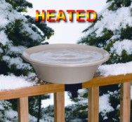 """14B 14"""" Bath with EZ deck mount. 4 Season Bird Bath. 70 Watts, 120Volts.Tilt to clean. Deck mounting hardware included. Ice free water in winter. Heating element hidden. Mounts to 2x4"""" rail, or 2x6"""" rail,  stand included. 14"""" diameter, 2"""" depth. 3 Yr. warranty"""