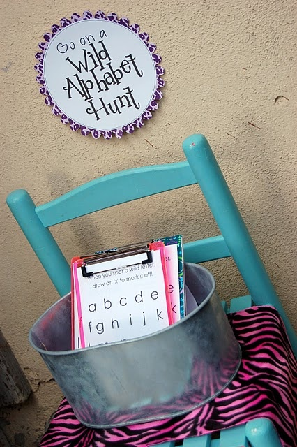 """For Write the Room: change out """"hunts"""" each week (initial sounds, final sounds, word families, etc)Alphabet Parties, Wild Alphabet, Hunting Birthday, Word Families, Birthday Parties Ideas, Words Families, Phonics Games, Birthday Party Ideas, Alphabet Hunting"""