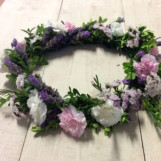 Pretty in Pink Flower Crown - Spring Racing Fashion - statice, lavender, spray carnation, box hedge,