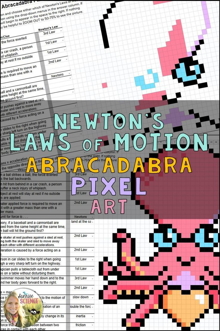 Newton S Laws Of Motion Pixel Art Digital Review Distance Learning Newtons Laws Of Motion Newtons Laws Digital Review