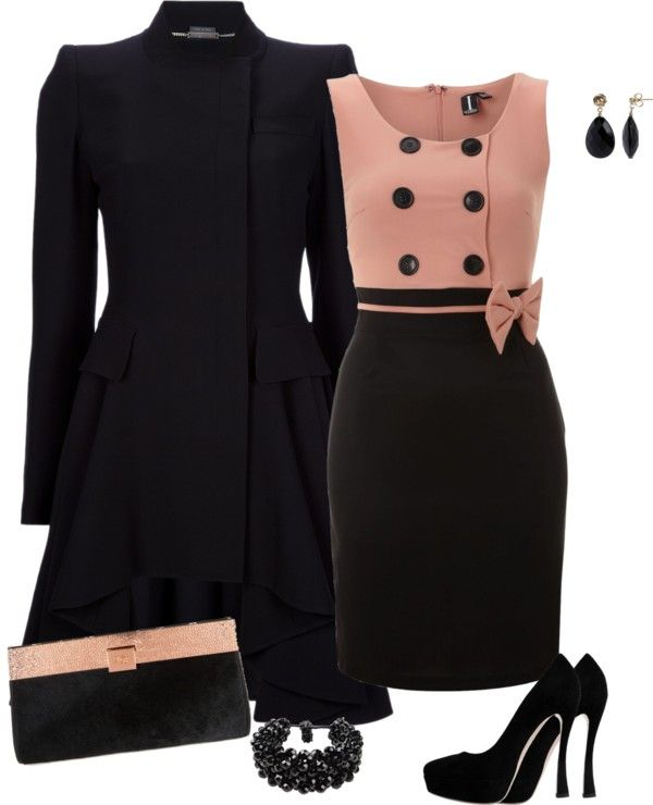 So classy, I especially love the pea coat style top on the dress. <3