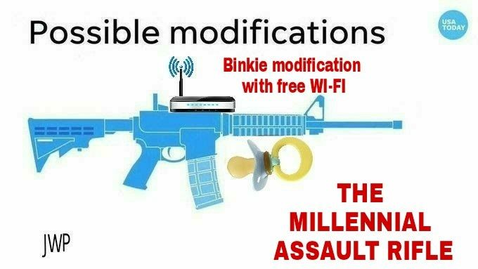Millenial Assault Rifle http://www.guns.com/2017/11/09/usa-today-uses-ar-15-w-chainsaw-bayonet-when-talking-about-texas-shooting-photos/