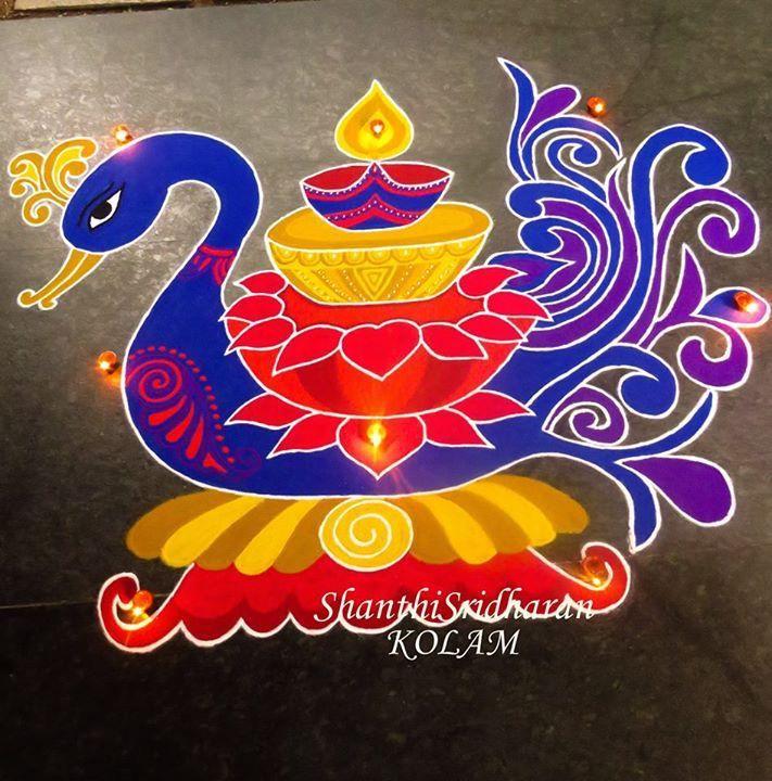 #blue#red#purple#kolam#swan#peacock#rangoli#lamp#deepam