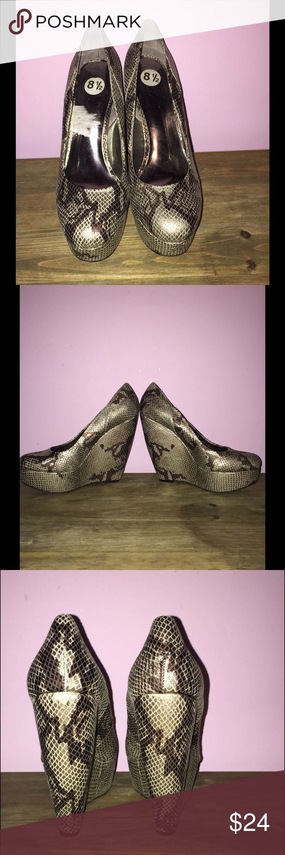 Snakeskin print platform wedge shoes. Final price New and never worn. Very cool shoes by Carlos. Carlos Shoes Platforms