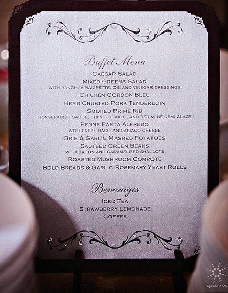 Custom Buffet Menu  www.invitationsbydragonflydesigns.com  #custom wedding stationery