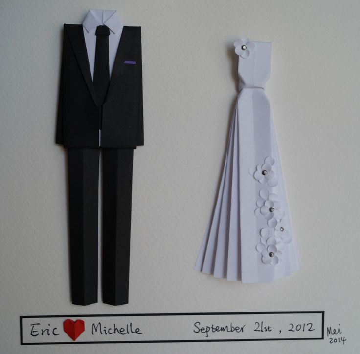 First wedding anniversary gift-personalized origami  Bride and groom outfit -Original wall art-made to order by Meiorigami on Etsy