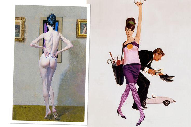 <strong>CHERCHEZ LA FEMME!</strong> Left, a typically lissome McGinnis model, rendered on a mid-90s canvas; Right, Audrey Hepburn and Peter O'Toole, depicted on Robert McGinnis's poster for <em>How to Steal a Million,</em> 1966. Courtesy of Robert McGinnis.