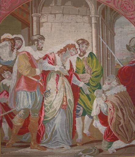 Six figures. Starting on left. A boy and women in the corner, the boy is wearing a green tunic with a white collar his hair color is a light brown with highlights in his hand he is holding the Queen's tunic behind him is one of the female courtiers and she is wearing a blue blouse with frills. Her hair is curly brown she is wearing a lacy head cap and she is looking over the shoulder of a figure that could be the king Ferdinand (Isabella's husband) he has light brown hair and a beard and…