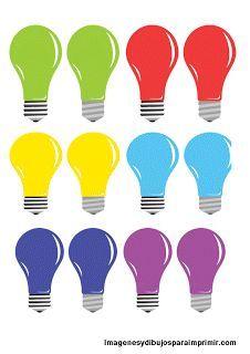 12 bombillas de colores. Dibujo para imprimir.