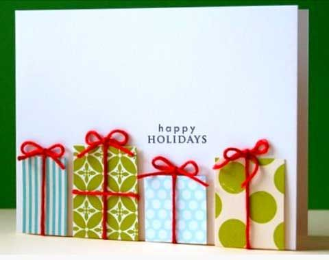 Easy DIY Holiday Crafts - Parcels with Tiny Red Bows - Click pic for 25 Handmade Christmas Cards Ideas for Kids