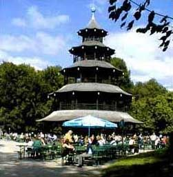 Fabulous Chinese Pagoda beer garden in Englischer Garten Munich Germany
